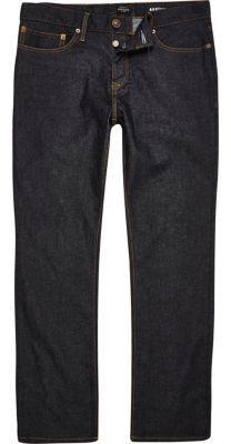 River Island MensDark blue rinse Clint bootcut jeans