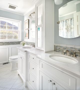 Hall Bath Transitional White Inset Cabinets Silestone Quartz Counters Tower Storage