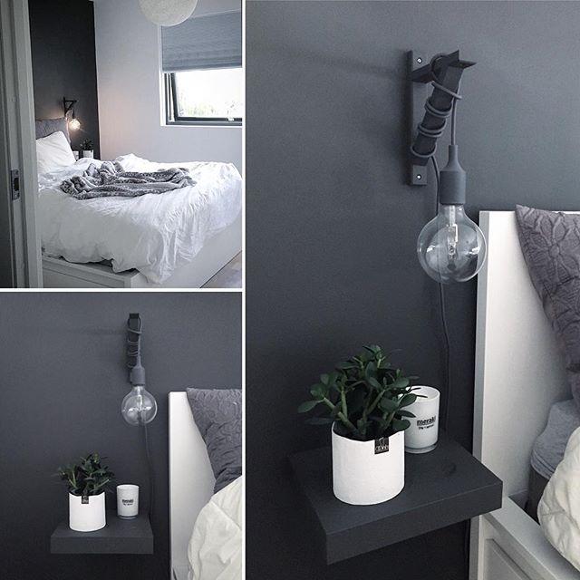 Soverommet = fristed  elsker den grå kontrastveggen bak sengen. Vurderer male enda en vegg på soverommet. Hva syntes dere?