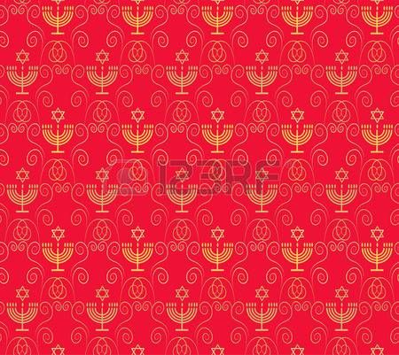 Red seamless ornamental pattern with Jewish Holiday Hanukkah traditional symbols - menorah candles, stars of David. Festive decoration template.