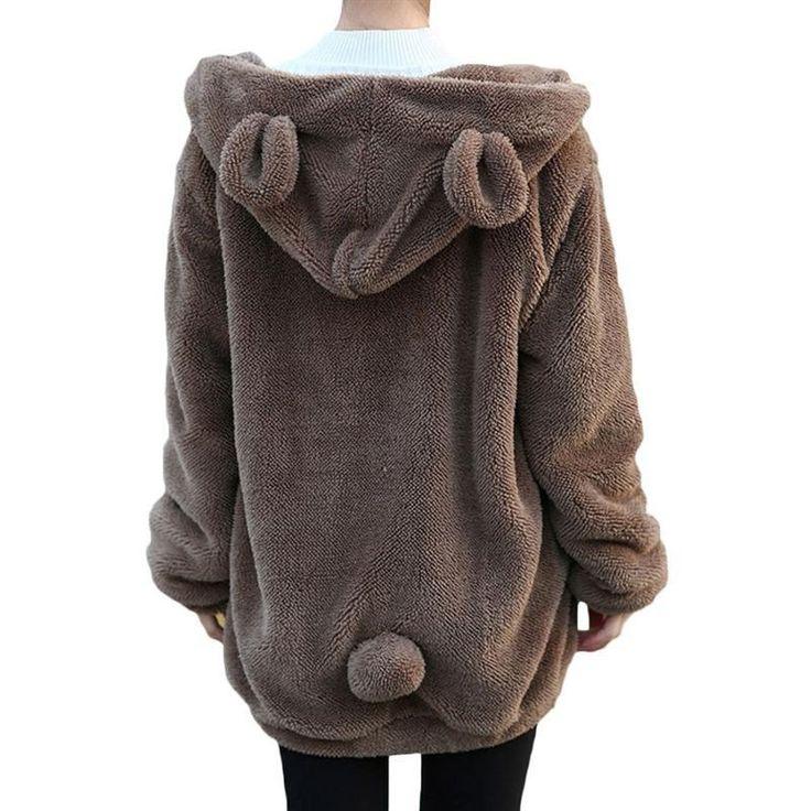Hot Sale Women Hoodies Zipper Girl Winter Loose Fluffy Bear Ear Hoodie Hooded Jacket Warm Outerwear Coat cute sweatshirt