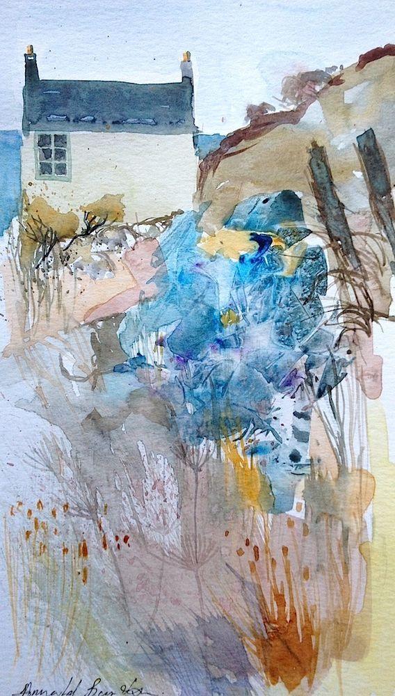 Original Watercolour Painting - Coastal Cottage  - by Annabel Burton