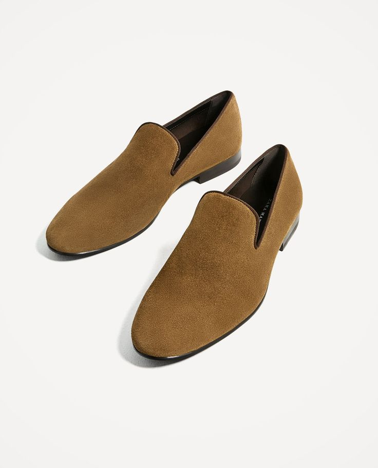 Image 1 of EMBOSSED SPLIT SUEDE LEATHER LOAFERS from Zara