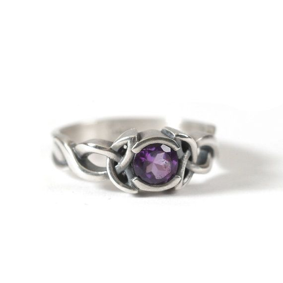 Celtic Amethyst Ring With Trinity Knot Design in Sterling Silver, Made in Your Size CR-405b