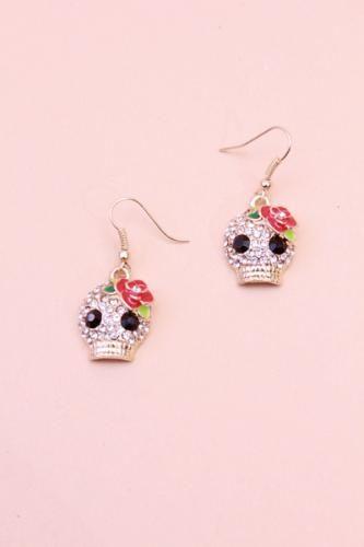 Gold Rhinestone Flower Skull Earrings