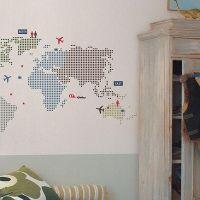Wallstickers - världskarta - stor i gruppen - Nyheter barnrum hos Blå Elefant (roo-RMKHS60011)