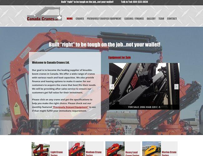 Canada Cranes Calgary website design by Kreative Kekeli Design & Marketing