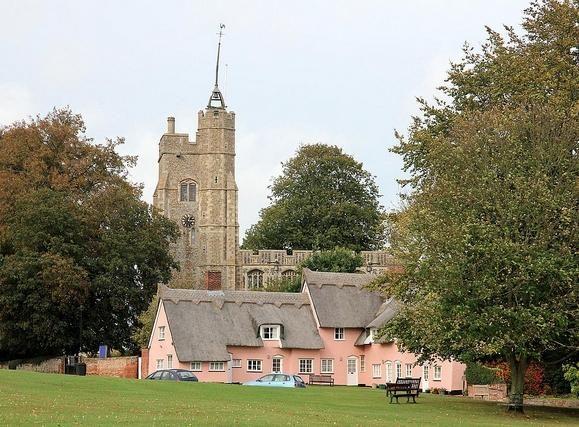 Suffolk pink cottages in Cavendish (c) Karen Roe