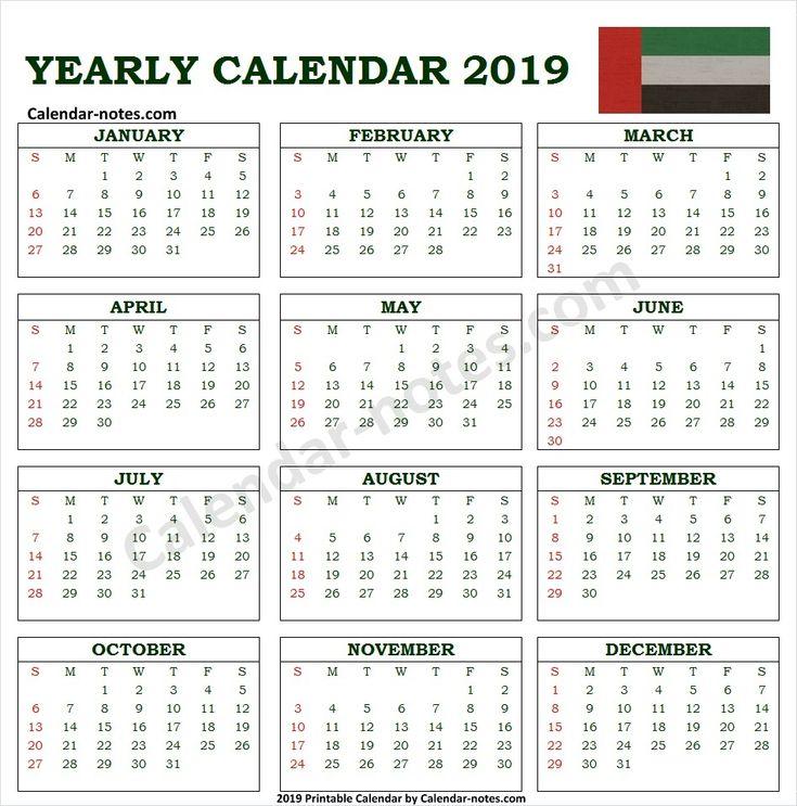 calendar 2019 uae with holidays