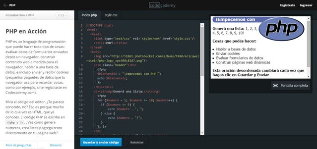 En Codeacademy podemos tener acceso inmediato a un completo curso gratuito de PHP en español.