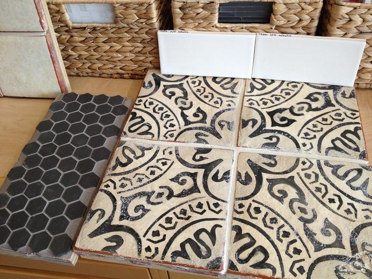 Black & Cream Moorish Tile w/ dark grey hex.  Tabarka Studio.