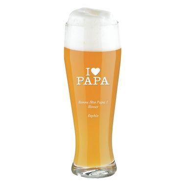 Pinte de verre à bière gravé à offrir pour papa !