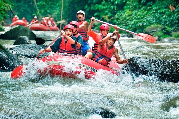 White water rafting in Bali Island at Telaga Waja River