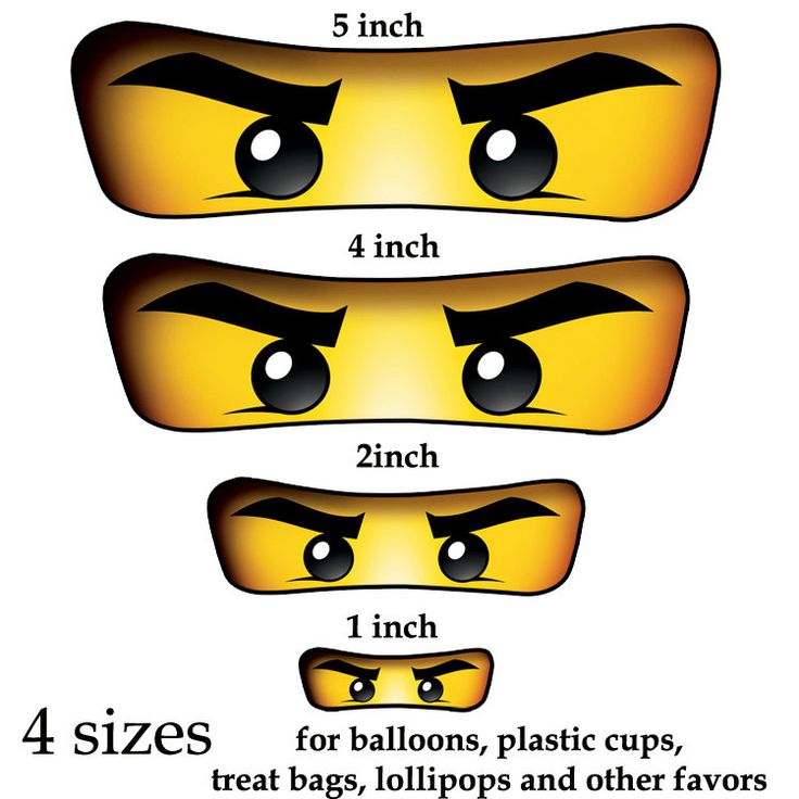 Ninjago eyes ( 4 sizes ) -for Balloon, Stickers, Lollipop, Favor bags, Cups - Ninjago birthday party - PRINTABLE. $2.50, via Etsy.