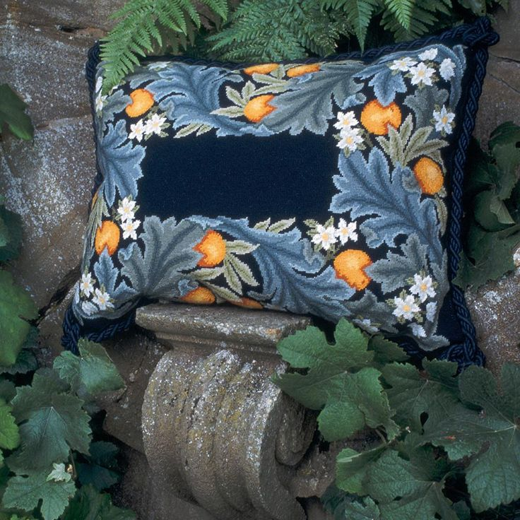 Orange Border needlepoint kit. William Morris designed this border to surround the beautiful Angeli Laudantes tapestry now at the Victoria & Albert Museum, London. Beth Russell's adaptation leaves a centre to be decorated with bees or initials or just left plain.