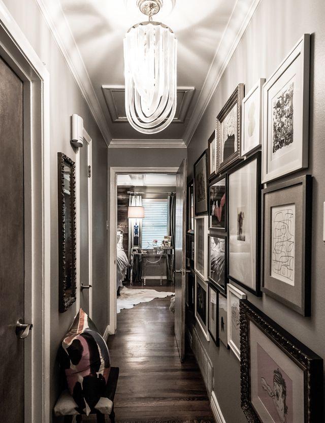 hallway art: Decor Ideas, Decor Mirror, Lights Fixtures, Frames, Interiors, Galleries Wall, Grey Wall, Narrow Hallways, Design