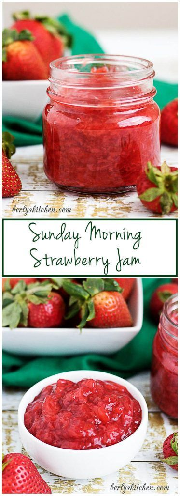 Our Sunday morning strawberry jam is homemade, lightly sweetened, and packed with strawberries. It's the perfect topping for your biscuits or pancakes. via @berlyskitchen
