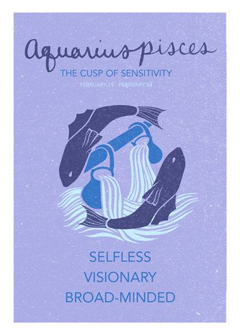Aquarius Pisces Cusp Poster. Astrological Cuspian by ZodiacZone