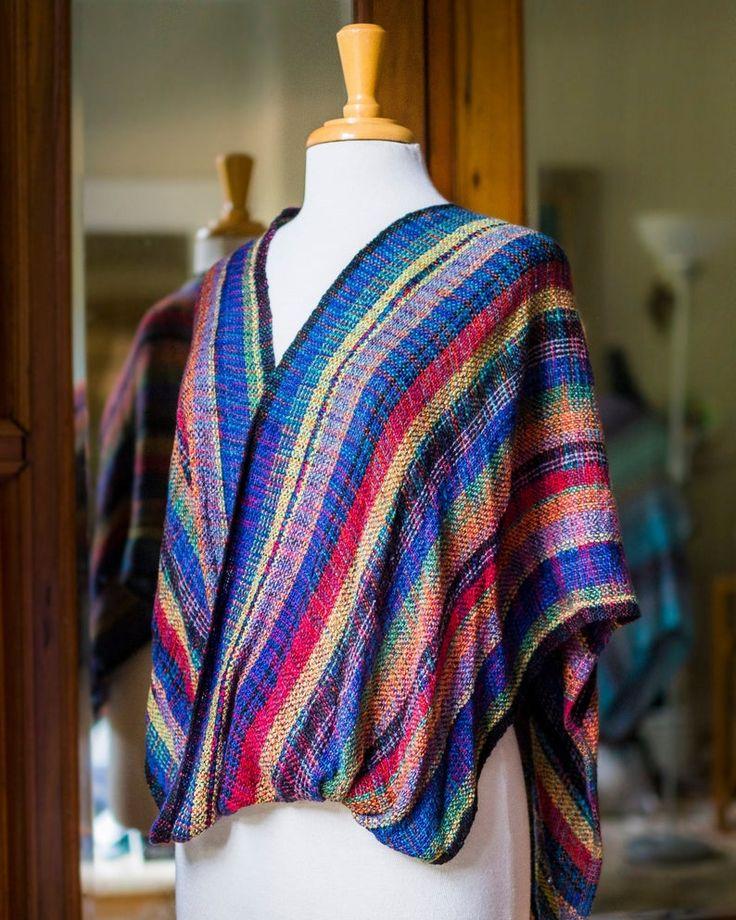 Rainbow Rayon Mobius Shawl, Variegated Weft, Infinity Shawl