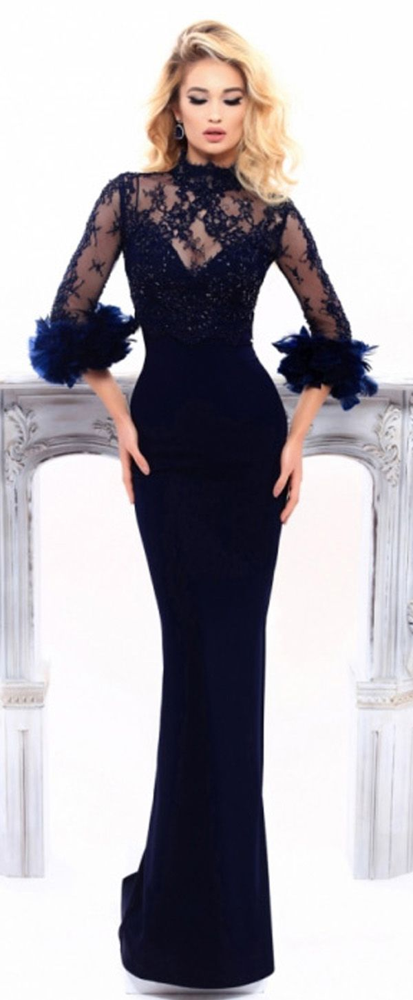 NEW! Delicate Lace & Acetate Satin High Collar Neckline Sheath / Column Evening Dresses With Beaded Lace Appliques