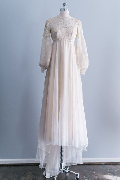 Modest Lace Embroidered Chiffon Gown via @Gossamer Vintage