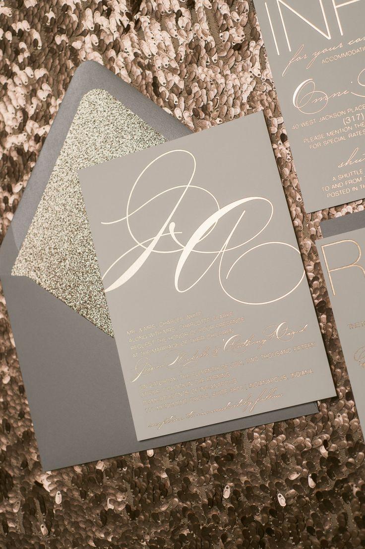 Hoja gris y oro rosa brillo invitaciones de boda por JustInviteMe