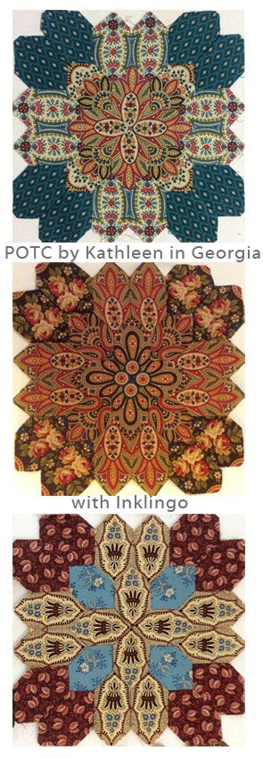 """Kathleen in Georgia says, """"I love Inklingo and hand piecing! Your method is so easy and trouble free."""" Video at http://lindafranz.com/shop/lucy-boston/4"""