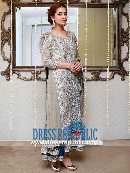 Smoke n Mercury Elbow-length Sleeve Suit Gray Wedding Dresses 2014 by Designer Maria B