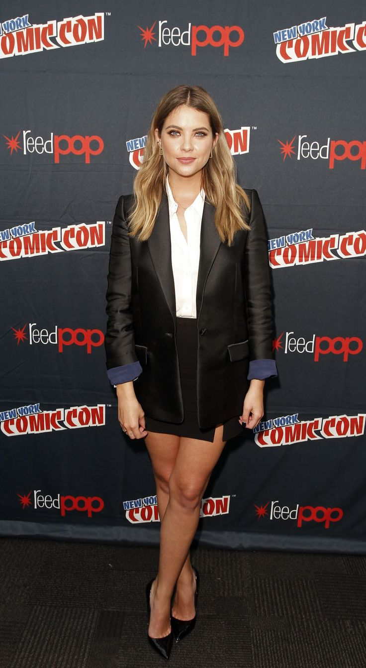 Ashley Benson poses in the press room for the 'Pretty Little Liars' panel during New York Comic-Con Day 2 at The Jacob K. Javits Convention Center on October 9, 2015 in New York City.