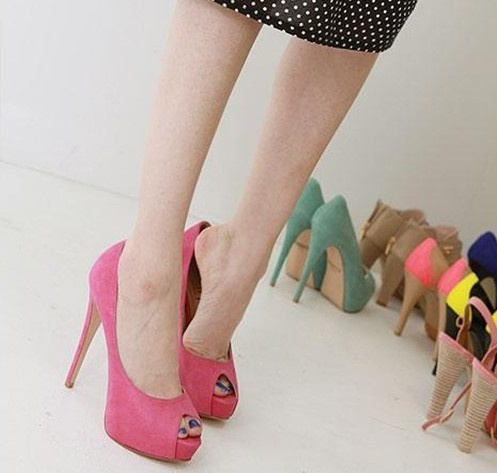 Trendy Fish Mouth Pure Color Super High-heeled Pumps Rose