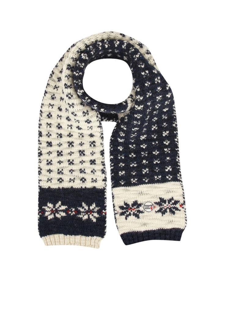 Knowledge Cotton Apparel | Knowledge Cotton Apparel Lange sjaal van wol met een ingebreid motief • de Bijenkorf