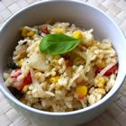 SO GOOD! Creamy risotto with tomato, corn and basil