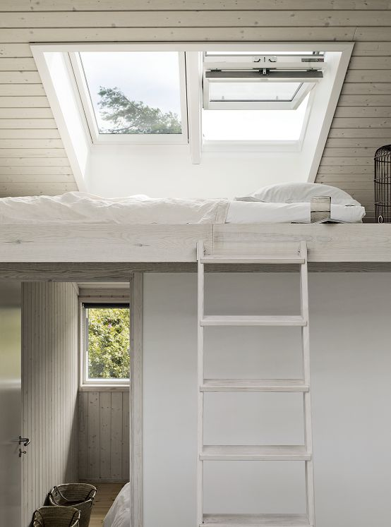 Think vertically in one-story houses. Why not create an inviting guest room with a view to the sky? Take a look at Tiny Homes here:  http://minimotives.com/pro-photos/#jp-carousel-4576