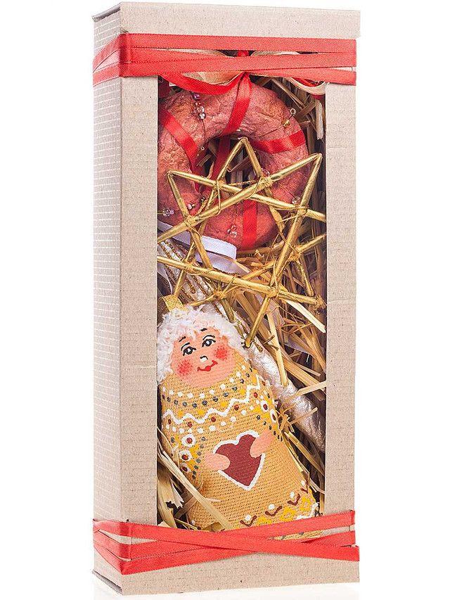 Подарочный набор этно-игрушек в крафте: золотой ангелочек
