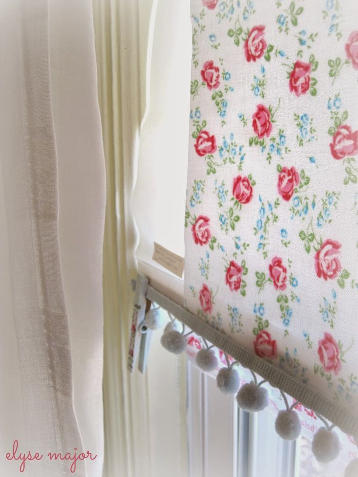 Tinkered Treasures used laminated cotton and some balled fridge to trick out a simple roller shade!! Brilliant!!