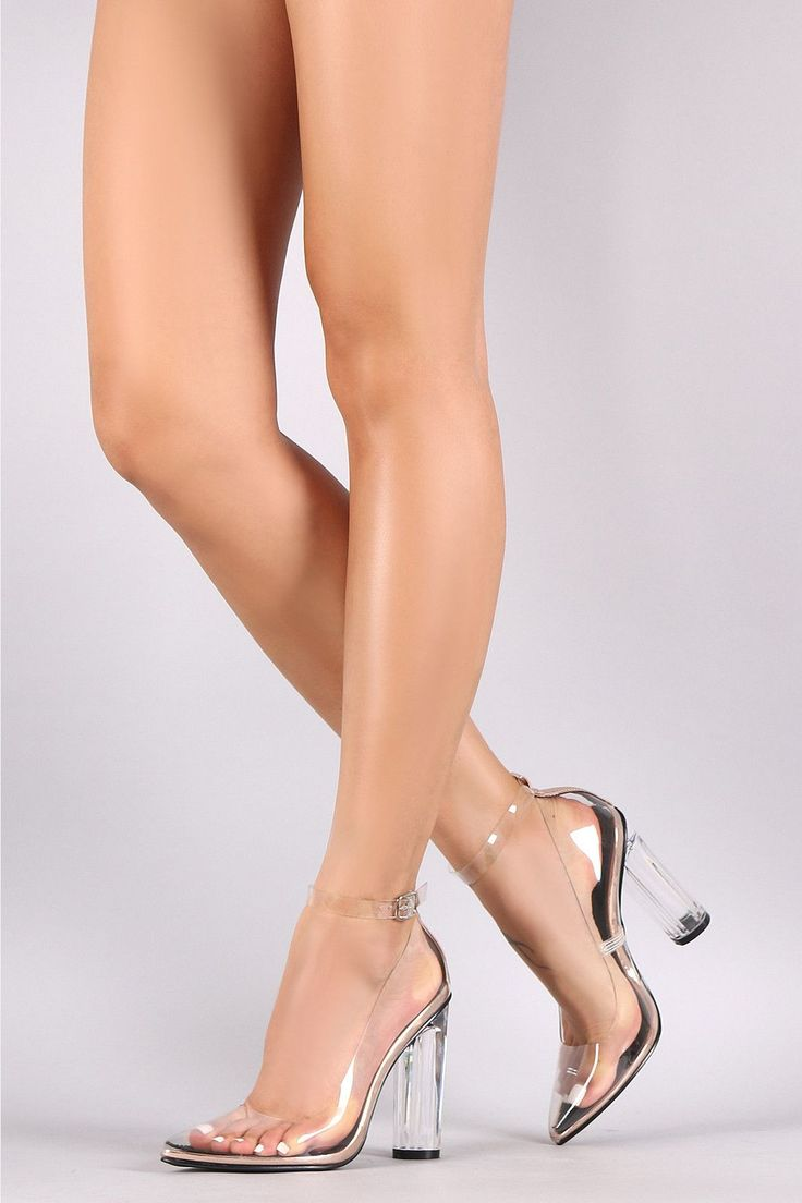 Transparent Ankle Strap Perspex Chunky Heeled Pump