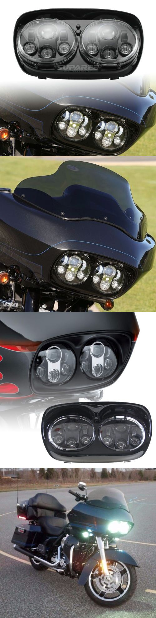 motorcycle parts: Dual Led Headlight Assembly Hi Lo Beam 90W Black For Harley-Davidson Road Glide -> BUY IT NOW ONLY: $145.91 on eBay!