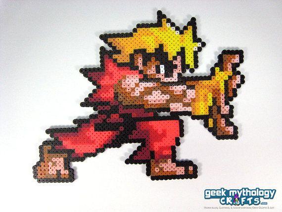 Ken de Street Fighter Pocket Fighter Perler cuentas Sprite - Hadoken Pose
