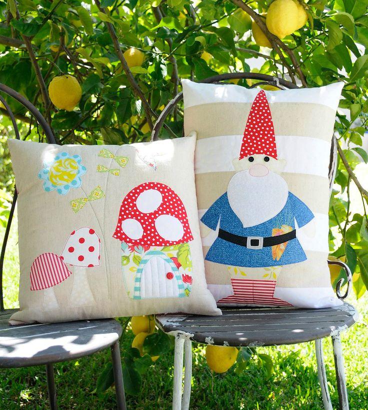 Rosies Garden & the Gnome Applique cushion PDF Patterns. $8.00, via Etsy.
