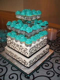 Black, White and Turquoise Wedding #cupcake #wedding #turquoise
