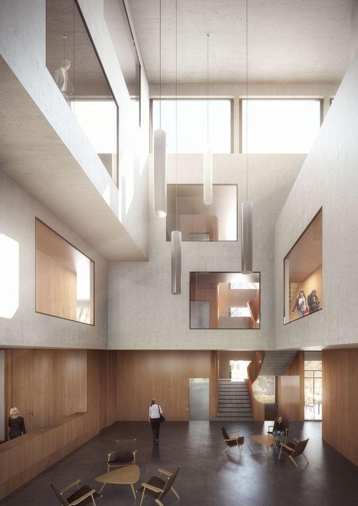Erster Preis für Zimmer Schmidt Architekten mit dem Entwurf eines Verwaltungszentrums 3d Architektur Visualisierung von loomn. Architecture Visualisation loomn 3D Visual Illustration Archviz Office