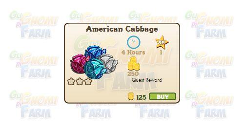 Nuova coltivazione disponibile nel Market: American Cabbage  Nuova coltivazione disponibile nel Market dal 30/06/2016  American Cabbage  Livello minimo: 5  Matura in: 4 ore  Costa: 125 Coins  Fa guadagnare 1 XP  Rende: 250 Coins  Mastery: 600 / 600 / 600 (tot. 1.800)