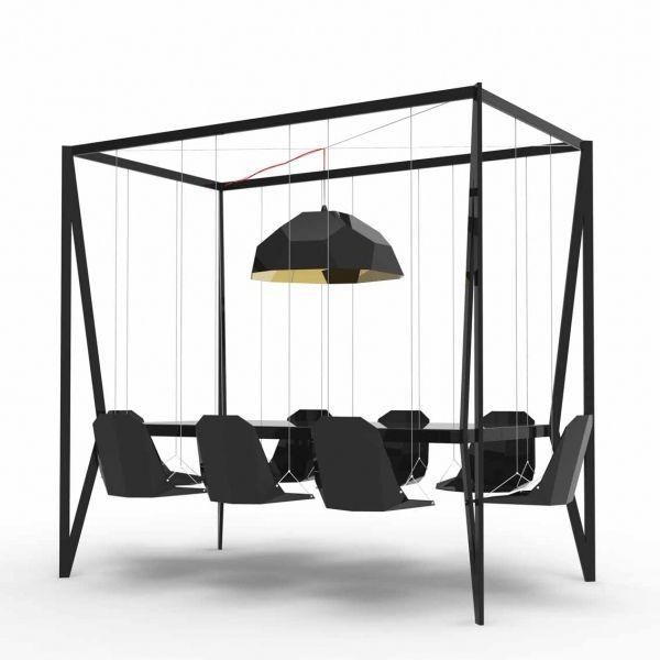 Amazing Design: Four Poster Swing Table seats 7   Via http://www.architectureartdesigns.com/amazing-design-four-poster-swing-table/