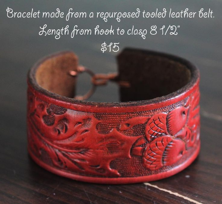 Made from a repurposed leather belt bracelets by re ride Repurposed leather belts