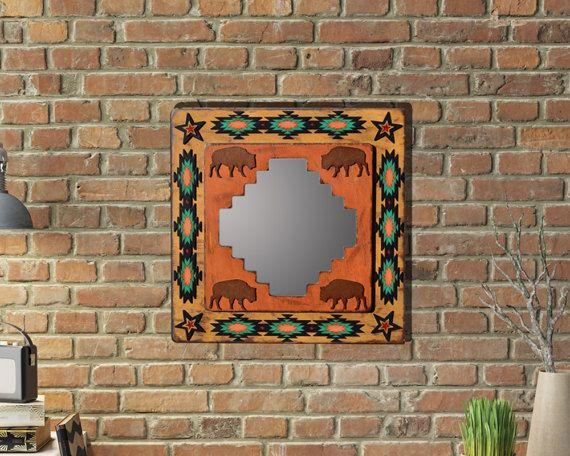 Southwestern Mirror Southwest Mirror Buffalo Rustic Mirror