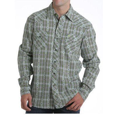 Cinch Garth Brooks Sevens Green Plaid Long Sleeve Shirt