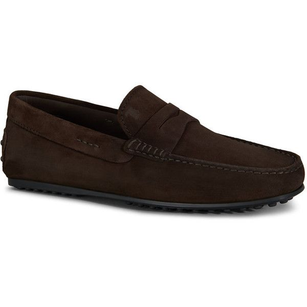 Tod's - City Gommino Suede Loafers (€435) ❤ liked on Polyvore featuring men's fashion, men's shoes, men's loafers, brown, mens brown loafer shoes, mens brown suede shoes, mens suede shoes, mens loafer shoes and mens brown shoes