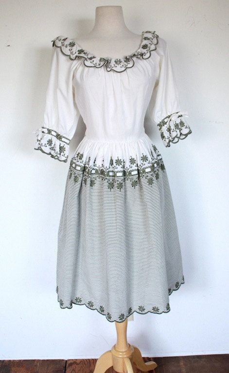 Vintage 1950s Dress // 50s Sage Green and White Patio Peasant Dress // The Sound…