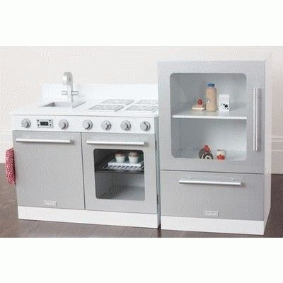 Kids Gourmet Toy Kitchens Childrens White Play Ovens Wooden Stoves Toddler Wood