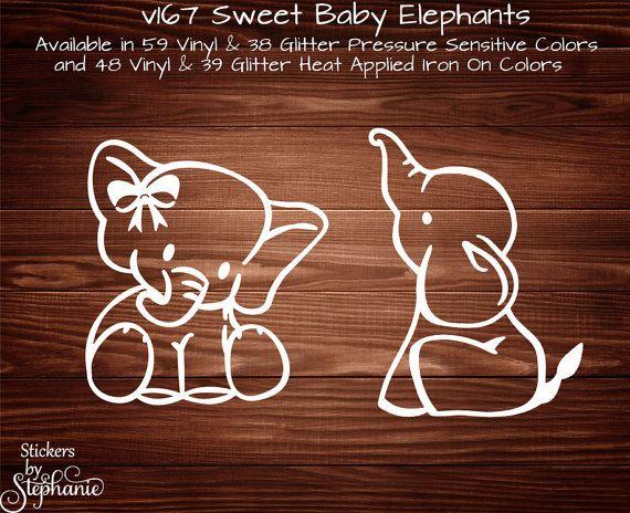 v167 Sweet Baby Boy or Girl Elephant Ellie GLITTER or VINYL Wall Mural Car Sticker Decal Heat Applied Iron On T-Shirt Onesie Transfer